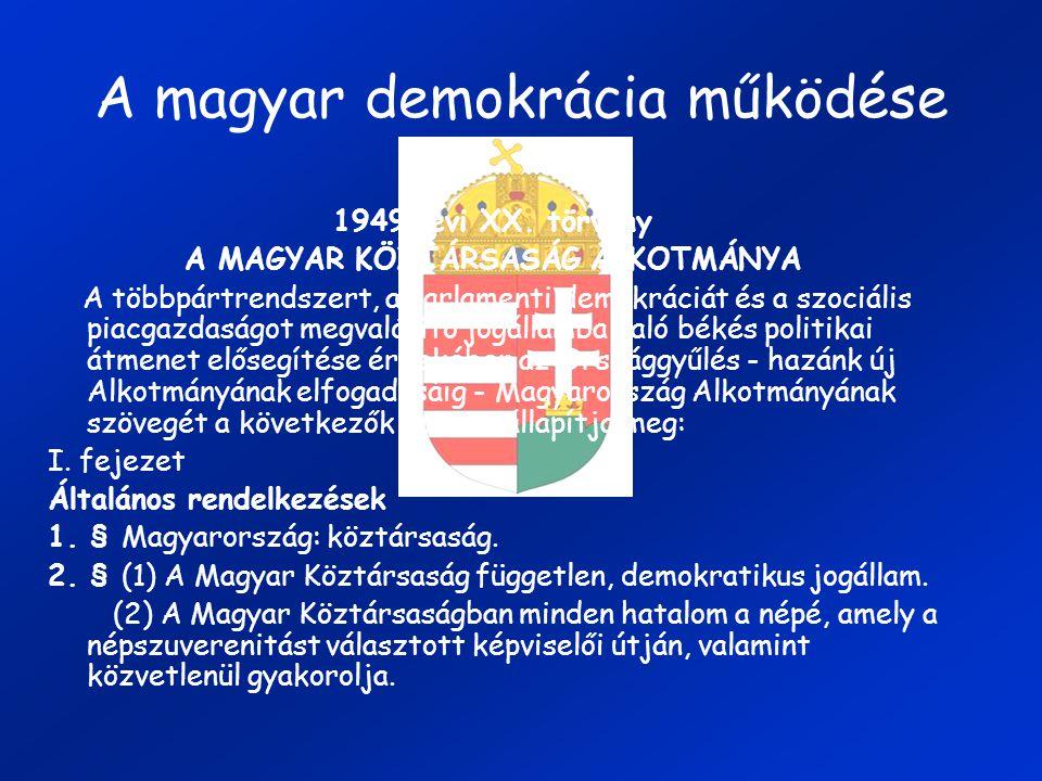 A magyar demokrácia működése 1949. évi XX. törvény A MAGYAR KÖZTÁRSASÁG ALKOTMÁNYA A többpártrendszert, a parlamenti demokráciát és a szociális piacga