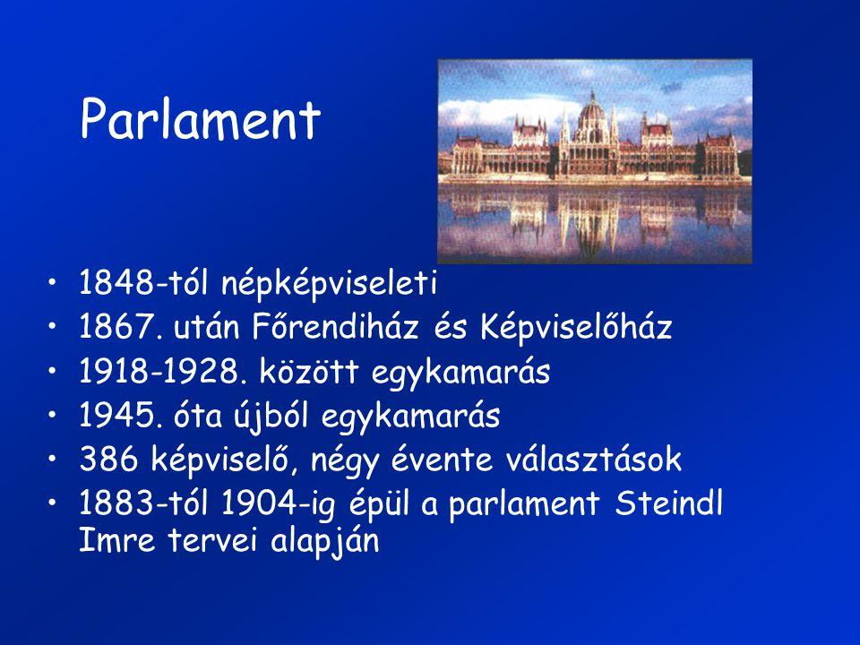Parlament 1848-tól népképviseleti 1867. után Főrendiház és Képviselőház 1918-1928. között egykamarás 1945. óta újból egykamarás 386 képviselő, négy év