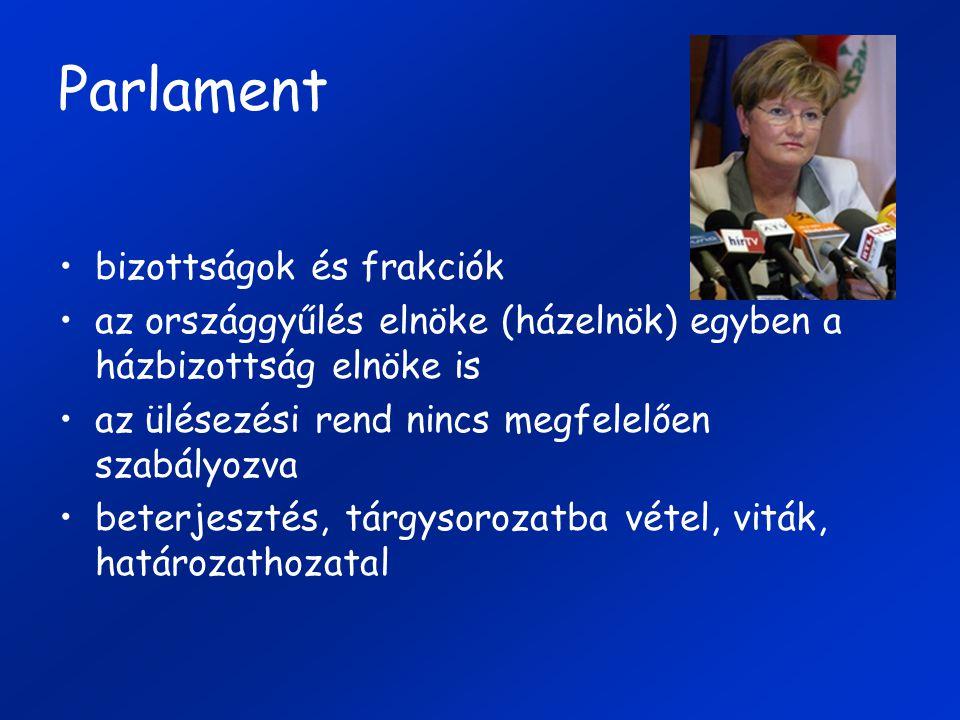 Parlament bizottságok és frakciók az országgyűlés elnöke (házelnök) egyben a házbizottság elnöke is az ülésezési rend nincs megfelelően szabályozva be