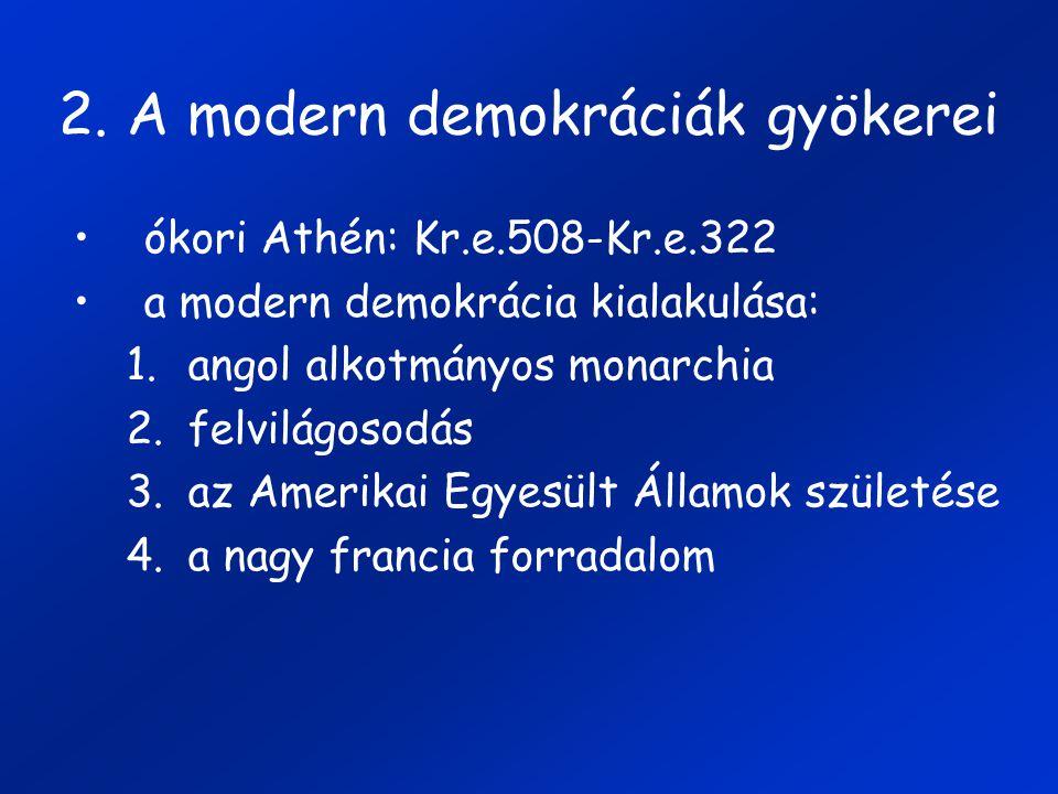 2. A modern demokráciák gyökerei ókori Athén: Kr.e.508-Kr.e.322 a modern demokrácia kialakulása: 1.angol alkotmányos monarchia 2.felvilágosodás 3.az A