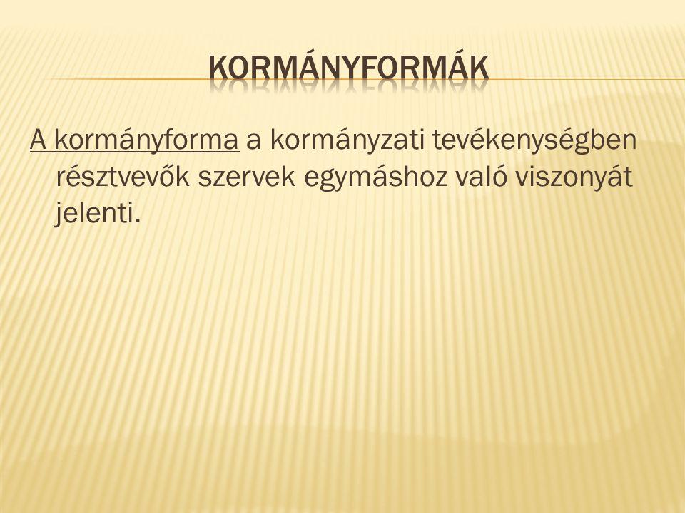 A kormányforma a kormányzati tevékenységben résztvevők szervek egymáshoz való viszonyát jelenti.