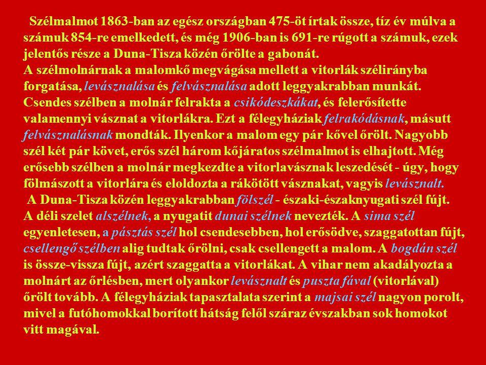 Szélmalmot 1863-ban az egész országban 475-öt írtak össze, tíz év múlva a számuk 854-re emelkedett, és még 1906-ban is 691-re rúgott a számuk, ezek jelentős része a Duna-Tisza közén őrölte a gabonát.