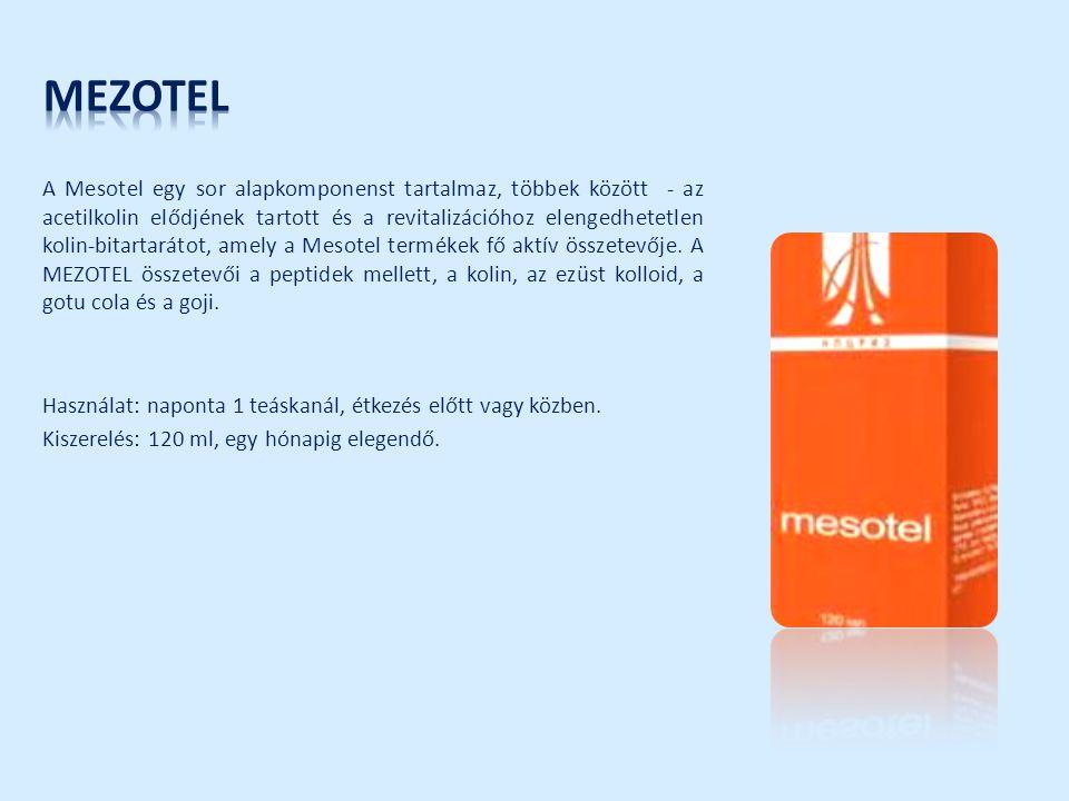 A Mesotel egy sor alapkomponenst tartalmaz, többek között - az acetilkolin elődjének tartott és a revitalizációhoz elengedhetetlen kolin-bitartarátot,