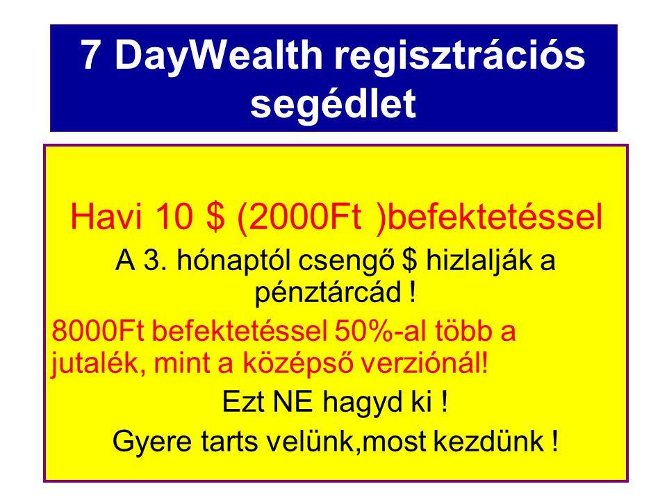Másold be a kezdőoldalad linkkeresőjébe ezt a regisztrációs linket http://www.7daywealth.com/index2.php?siteId=ek48757 Vagy ezt, bármelyiket választhatod… http://tinyurl.com/26hg6rc