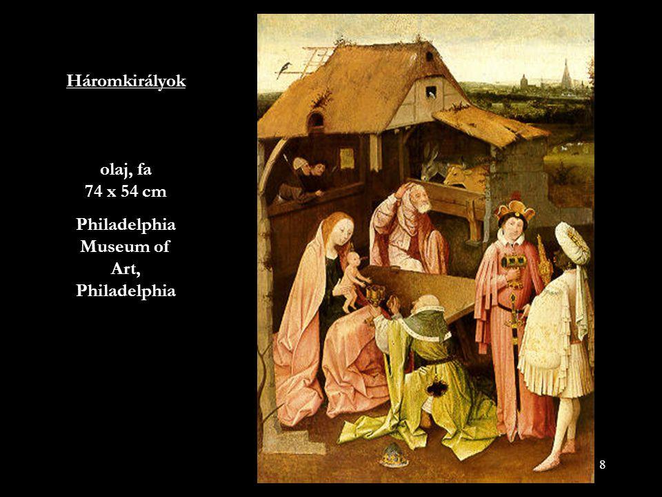 39 Különösen késői művein Boscht erősen foglalkoztatták a remetéket és szent életű embereket kísértő és gyötrő dolgok, akik életüket elmélkedéssel és testük sanyargatásával töltötték, hogy majdan Istennel egyesüljenek.