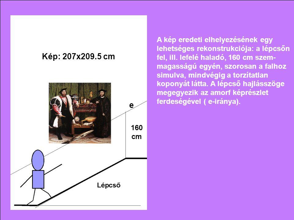 160 cm A kép eredeti elhelyezésének egy lehetséges rekonstrukciója: a lépcsőn fel, ill. lefelé haladó, 160 cm szem- magasságú egyén, szorosan a falhoz