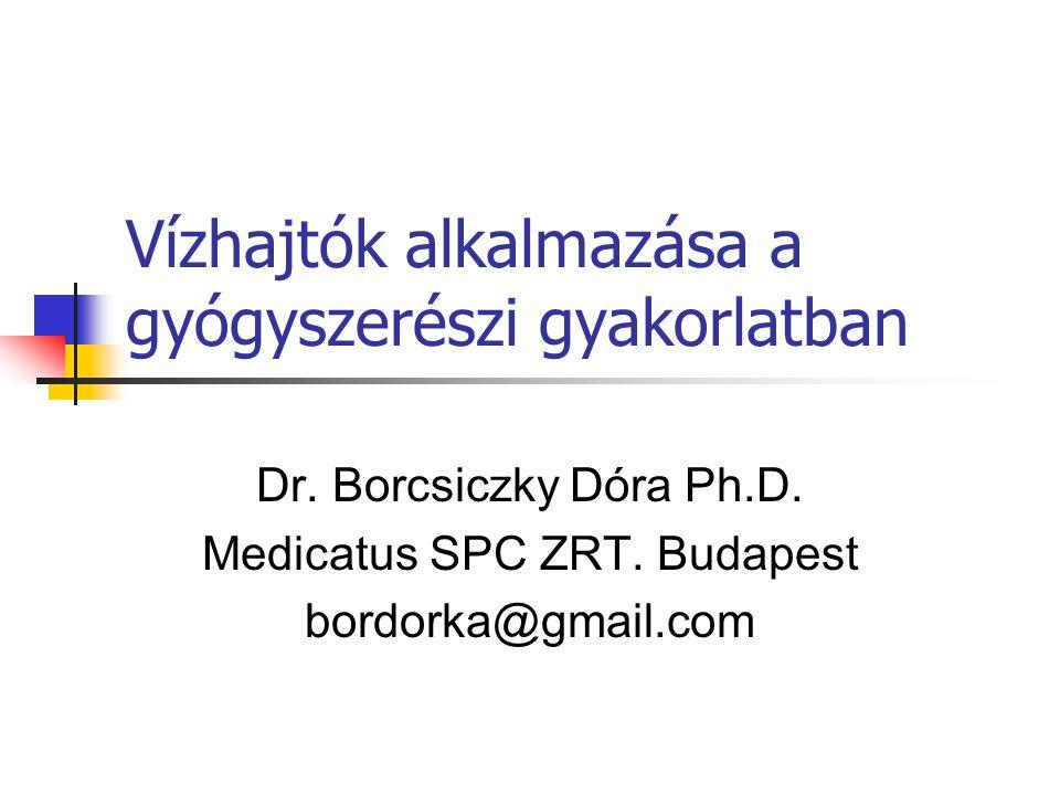 Vízhajtók alkalmazása a gyógyszerészi gyakorlatban Dr. Borcsiczky Dóra Ph.D. Medicatus SPC ZRT. Budapest bordorka@gmail.com