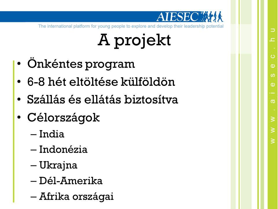 A projekt Önkéntes program 6-8 hét eltöltése külföldön Szállás és ellátás biztosítva Célországok – India – Indonézia – Ukrajna – Dél-Amerika – Afrika országai