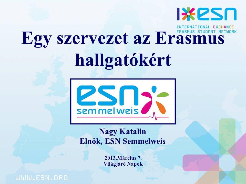 Egy szervezet az Erasmus hallgatókért 2013.Március 7. Világjáró Napok Nagy Katalin Elnök, ESN Semmelweis