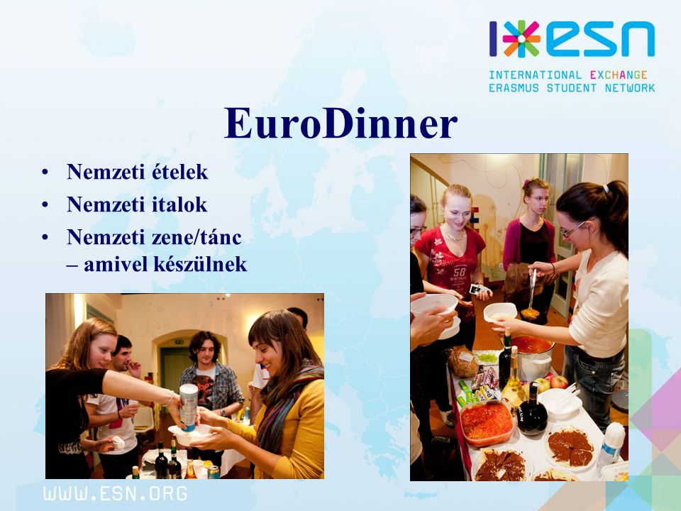 EuroDinner Nemzeti ételek Nemzeti italok Nemzeti zene/tánc – amivel készülnek