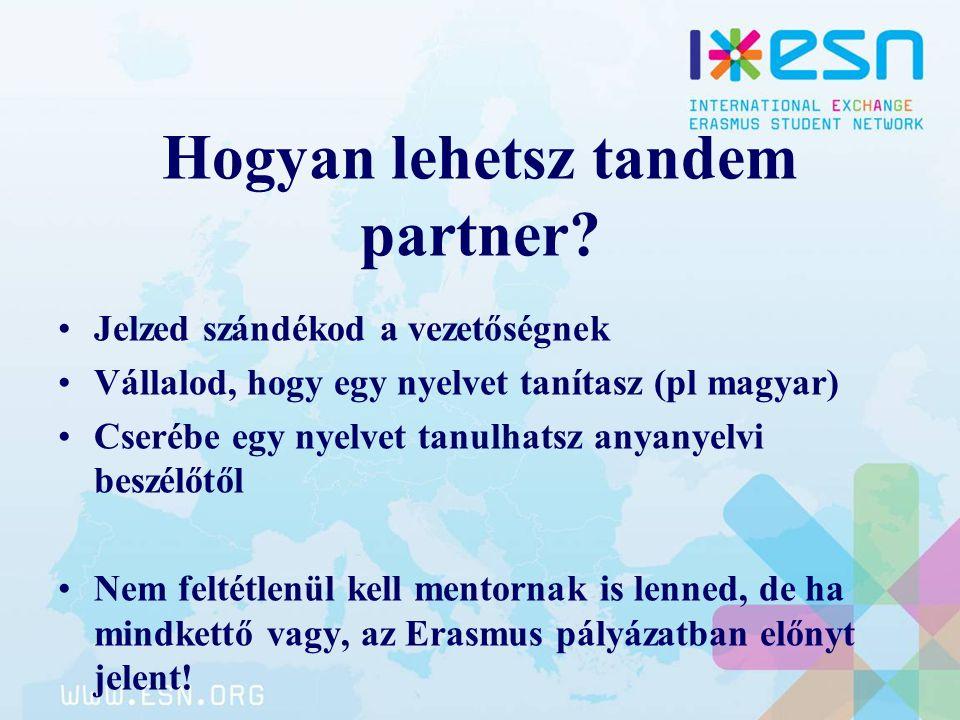 Hogyan lehetsz tandem partner? Jelzed szándékod a vezetőségnek Vállalod, hogy egy nyelvet tanítasz (pl magyar) Cserébe egy nyelvet tanulhatsz anyanyel