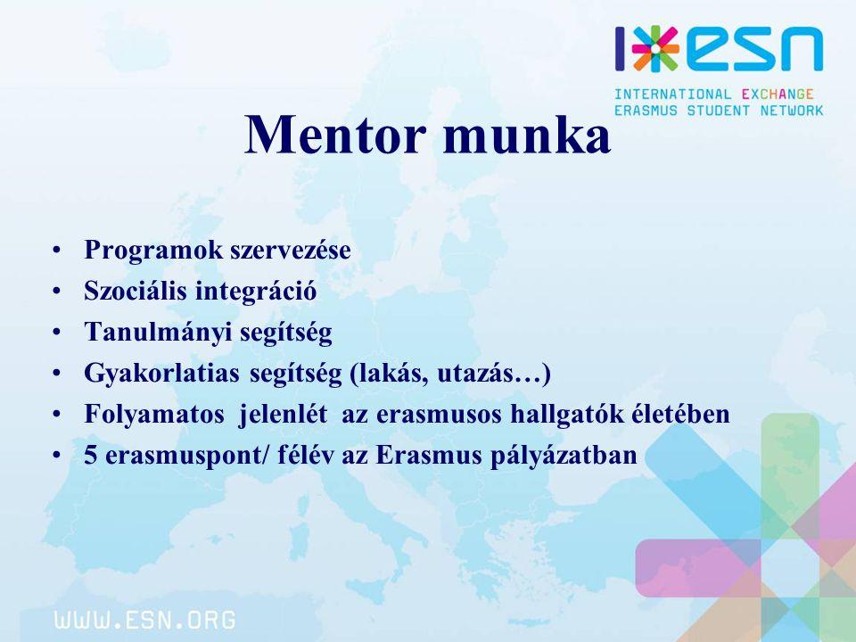 Mentor munka Programok szervezése Szociális integráció Tanulmányi segítség Gyakorlatias segítség (lakás, utazás…) Folyamatos jelenlét az erasmusos hal