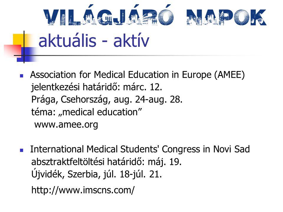 aktuális - aktív Medicalis 2013 International Congress for Medical Students and Young Health Professionals absztraktfeltöltési határidő: márc.