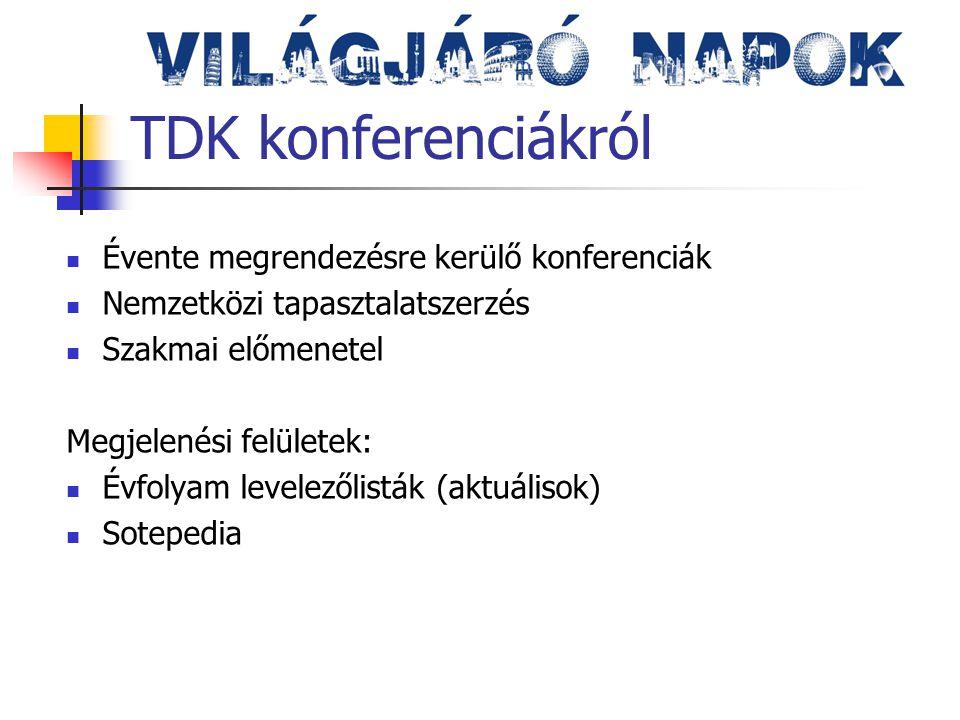 TDK konferenciákról Évente megrendezésre kerülő konferenciák Nemzetközi tapasztalatszerzés Szakmai előmenetel Megjelenési felületek: Évfolyam levelezőlisták (aktuálisok) Sotepedia