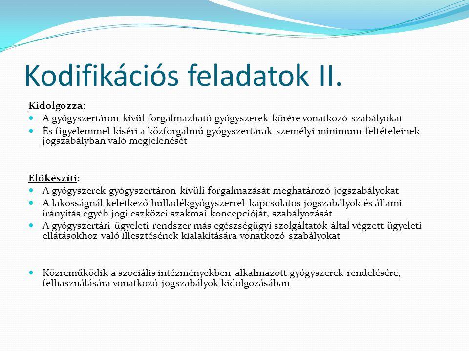 Kodifikációs feladatok II.