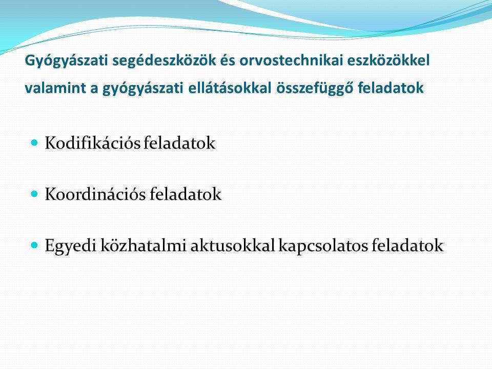 Gyógyászati segédeszközök és orvostechnikai eszközökkel valamint a gyógyászati ellátásokkal összefüggő feladatok Kodifikációs feladatok Koordinációs feladatok Egyedi közhatalmi aktusokkal kapcsolatos feladatok