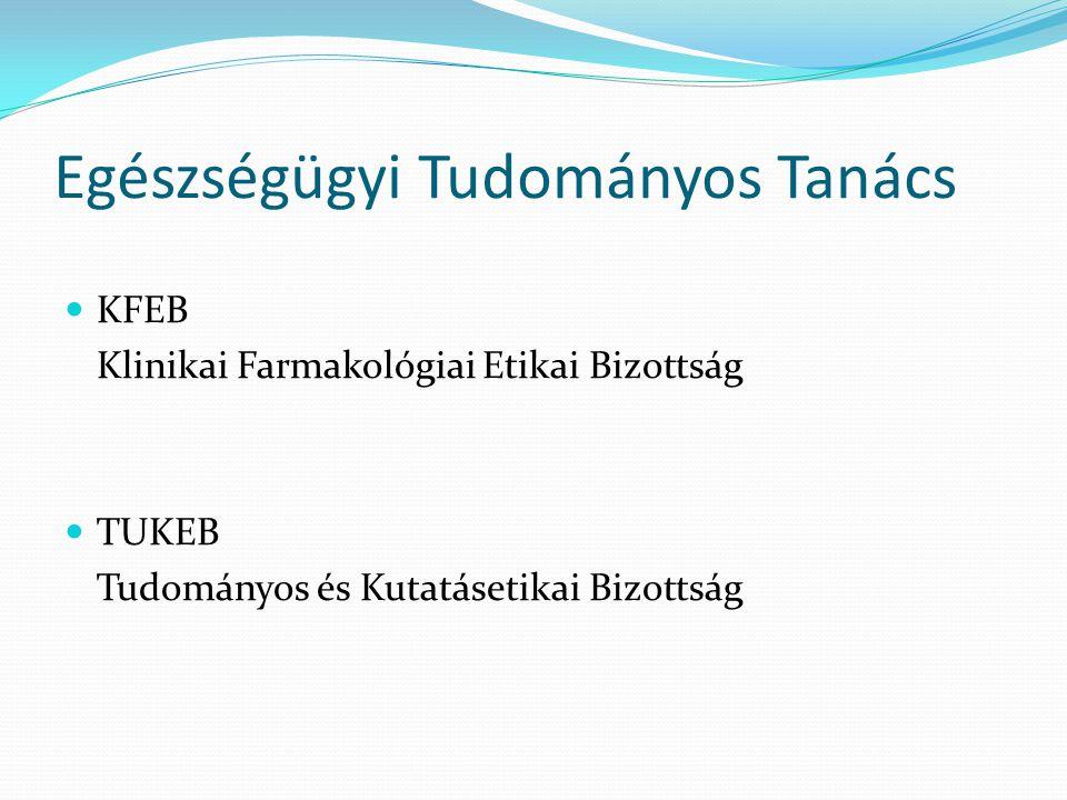 Egészségügyi Tudományos Tanács KFEB Klinikai Farmakológiai Etikai Bizottság TUKEB Tudományos és Kutatásetikai Bizottság