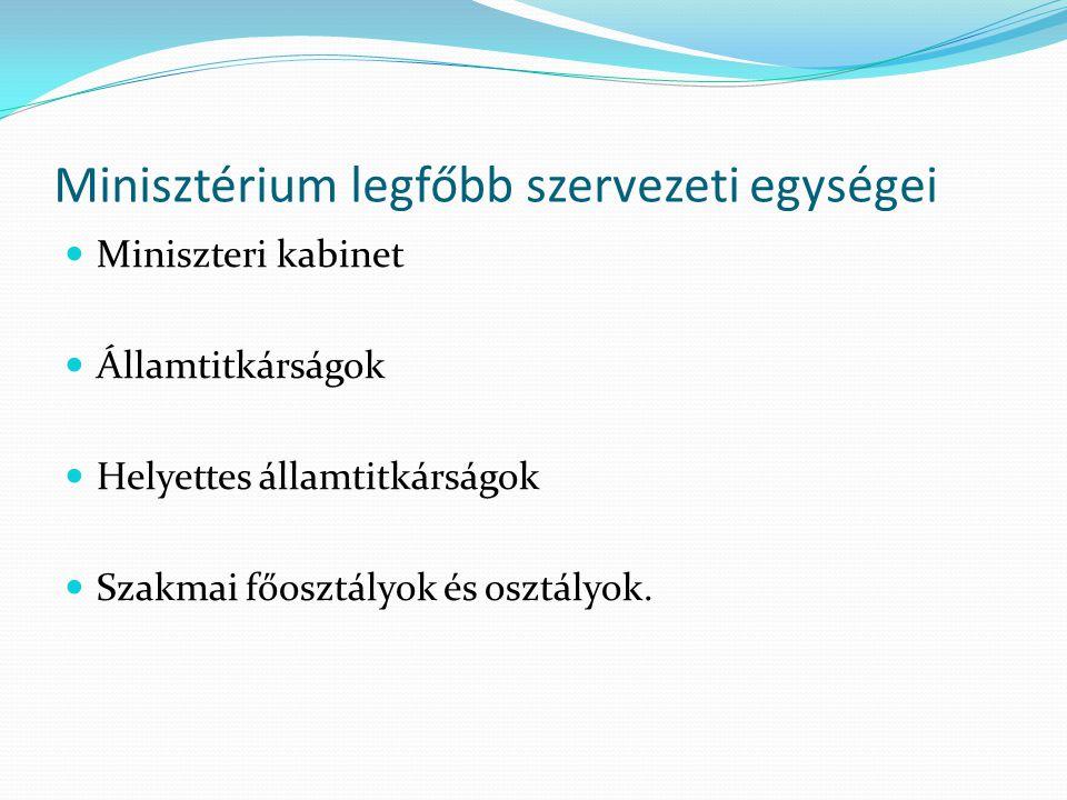 Minisztérium legfőbb szervezeti egységei Miniszteri kabinet Államtitkárságok Helyettes államtitkárságok Szakmai főosztályok és osztályok.