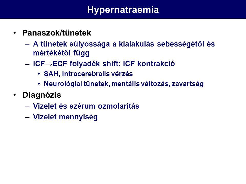 Hypernatraemia Panaszok/tünetek –A tünetek súlyossága a kialakulás sebességétől és mértékétől függ –ICF→ECF folyadék shift: ICF kontrakció SAH, intrac