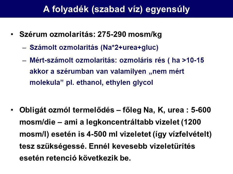 A folyadék (szabad víz) egyensúly Szérum ozmolaritás: 275-290 mosm/kg –Számolt ozmolaritás (Na*2+urea+gluc) –Mért-számolt ozmolaritás: ozmoláris rés (