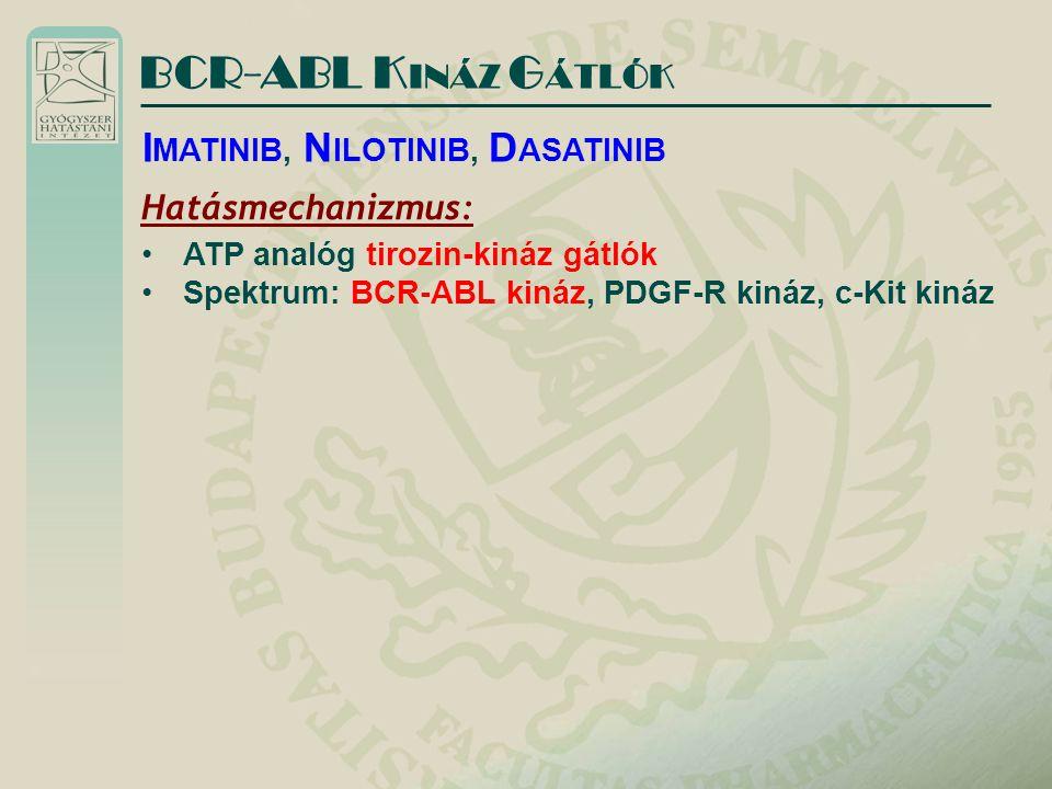 BCR-ABL K INÁZ G ÁTLÓK Hatásmechanizmus: ATP analóg tirozin-kináz gátlók Spektrum: BCR-ABL kináz, PDGF-R kináz, c-Kit kináz I MATINIB, N ILOTINIB, D A