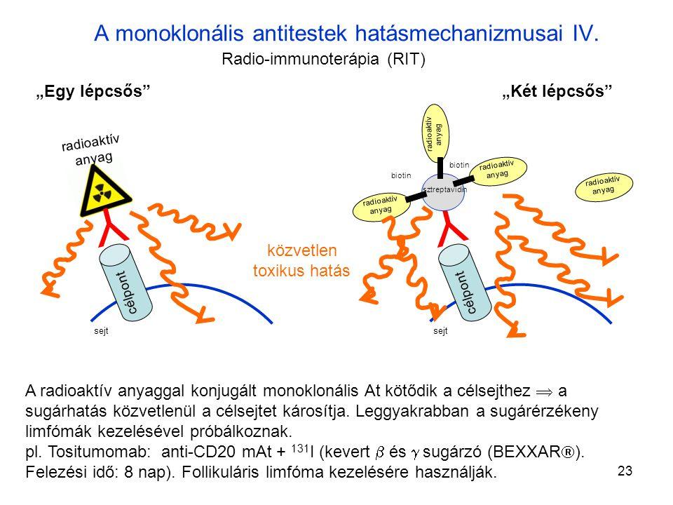 23 A monoklonális antitestek hatásmechanizmusai IV.