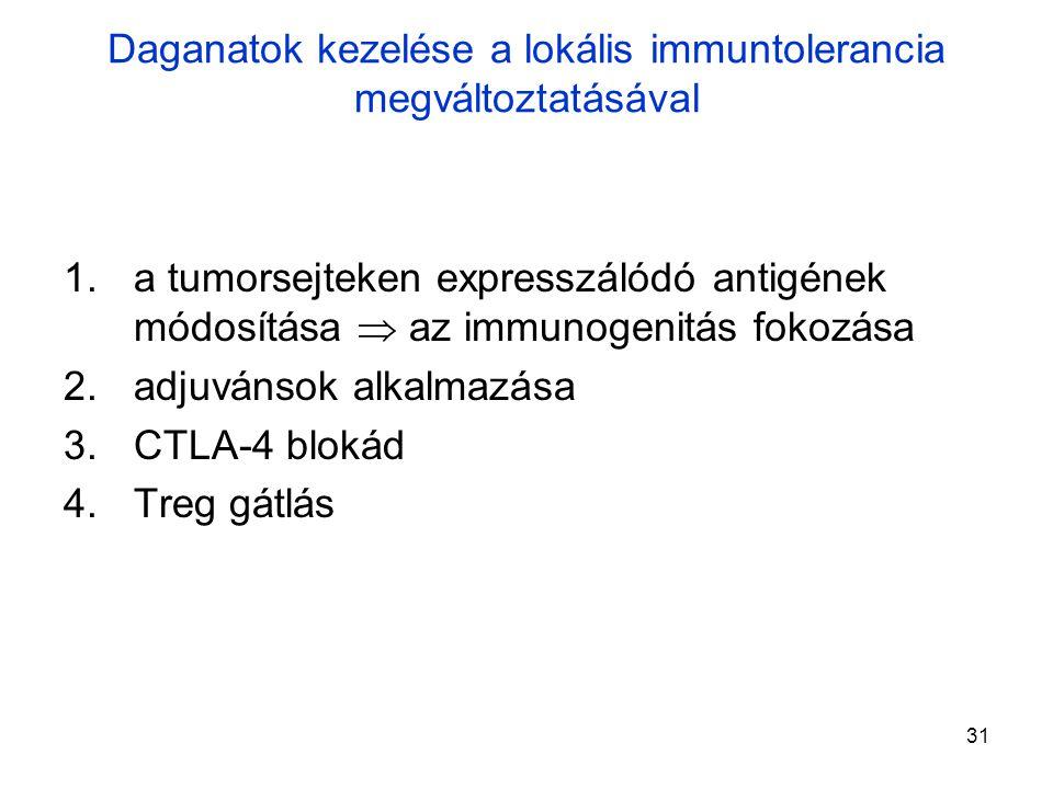 31 1.a tumorsejteken expresszálódó antigének módosítása  az immunogenitás fokozása 2.adjuvánsok alkalmazása 3.CTLA-4 blokád 4.Treg gátlás Daganatok kezelése a lokális immuntolerancia megváltoztatásával