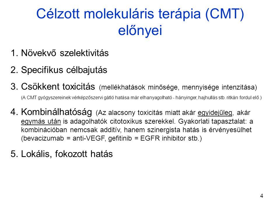 4 Célzott molekuláris terápia (CMT) előnyei 1.Növekvő szelektivitás 2.Specifikus célbajutás 3.Csökkent toxicitás (mellékhatások minősége, mennyisége intenzitása) (A CMT gyógyszereinek vérképzőszervi gátló hatása már elhanyagolható - hányinger, hajhullás stb.