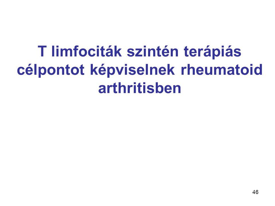 46 T limfociták szintén terápiás célpontot képviselnek rheumatoid arthritisben