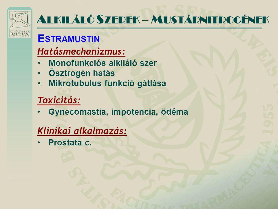 Hatásmechanizmus: Monofunkciós alkiláló szer Ösztrogén hatás Mikrotubulus funkció gátlása A LKILÁLÓ S ZEREK – M USTÁRNITROGÉNEK E STRAMUSTIN Toxicitás: Gynecomastia, impotencia, ödéma Klinikai alkalmazás: Prostata c.