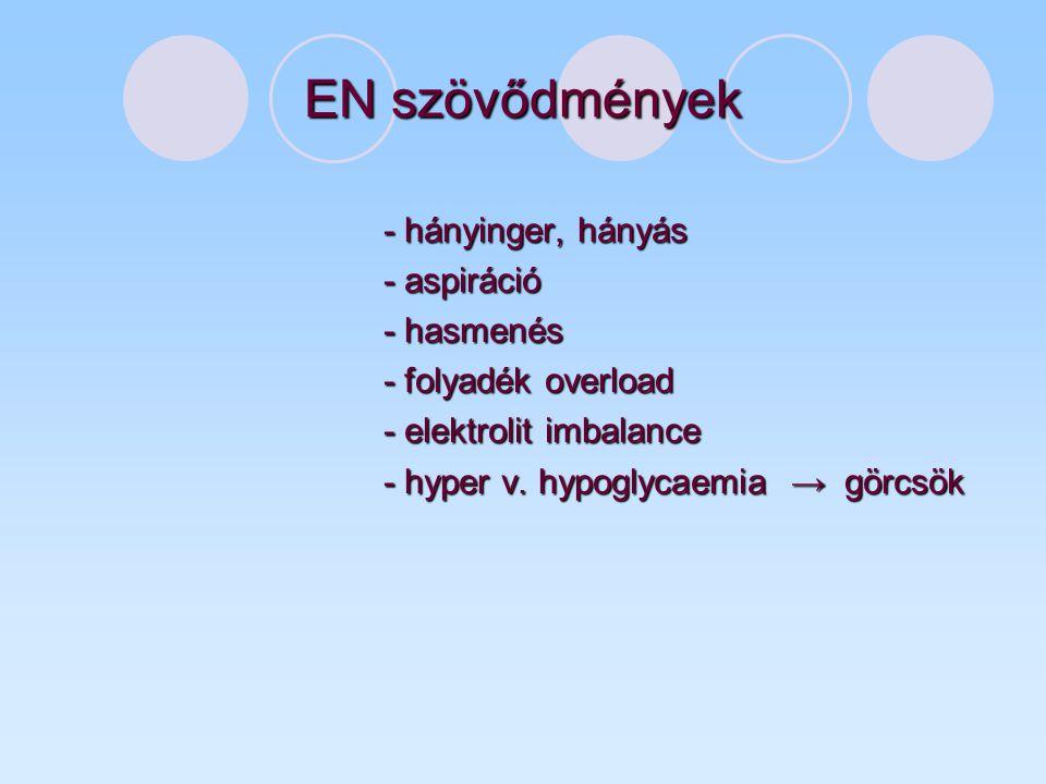 EN szövődmények - hányinger, hányás - aspiráció - hasmenés - folyadék overload - elektrolit imbalance - hyper v. hypoglycaemia → görcsök