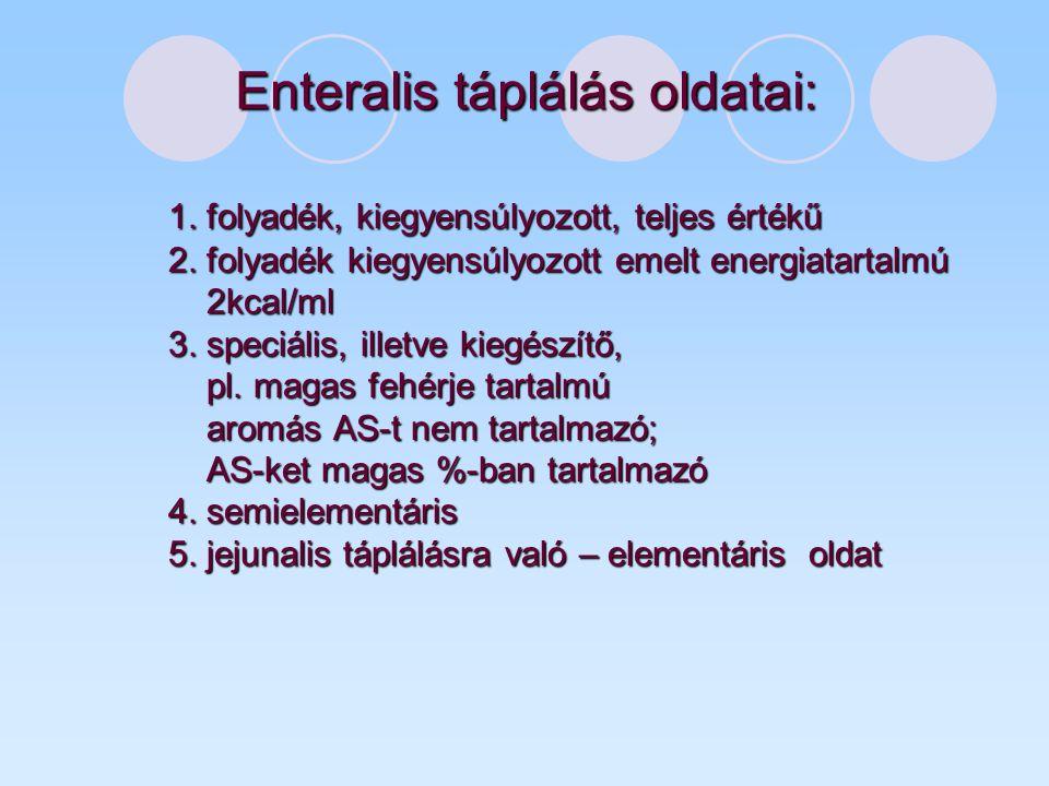 Enteralis táplálás oldatai: 1. folyadék, kiegyensúlyozott, teljes értékű 2. folyadék kiegyensúlyozott emelt energiatartalmú 2kcal/ml 3. speciális, ill