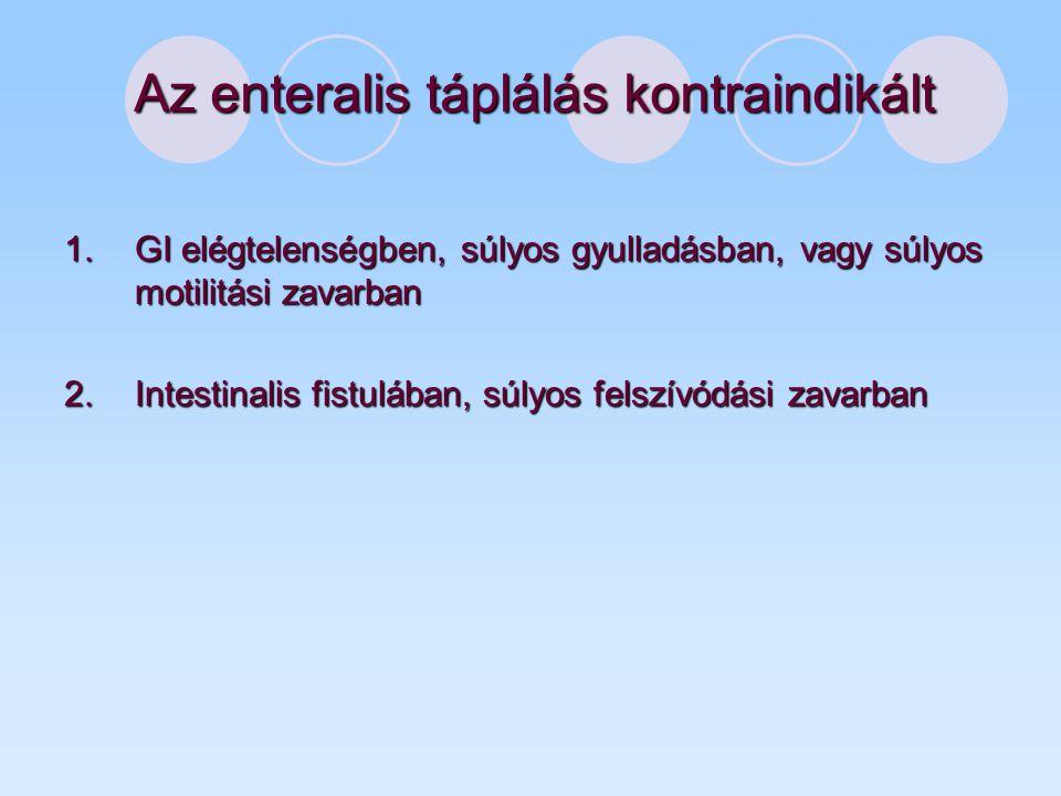 Az enteralis táplálás kontraindikált 1.GI elégtelenségben, súlyos gyulladásban, vagy súlyos motilitási zavarban 2.Intestinalis fistulában, súlyos felszívódási zavarban