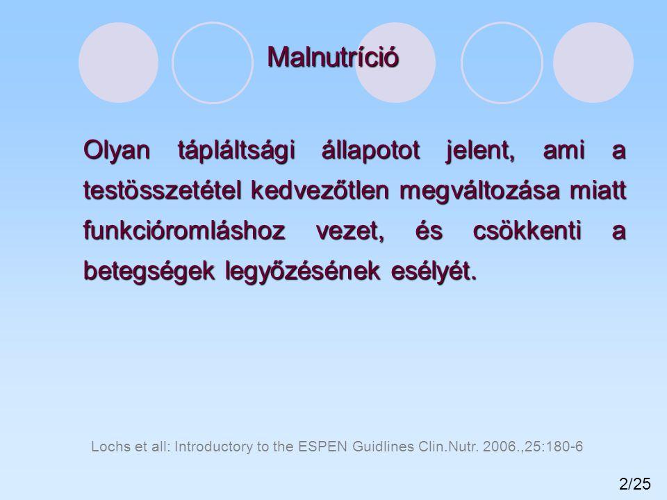 A malnutrició formái Malnutrició = kedvezőtlen tápláltsági állapot, vagy nem megfelelő tápláltsági állapot Elégtelen protein-energiafelesleges energiabevitel bevitel hyperkalorizálás Szomatikus fejlődés-lassulásfokozódó zsírszövet bizonyítható kóros hatás a betegség gyógyulási kilátásaira gyógyulási kilátásaira