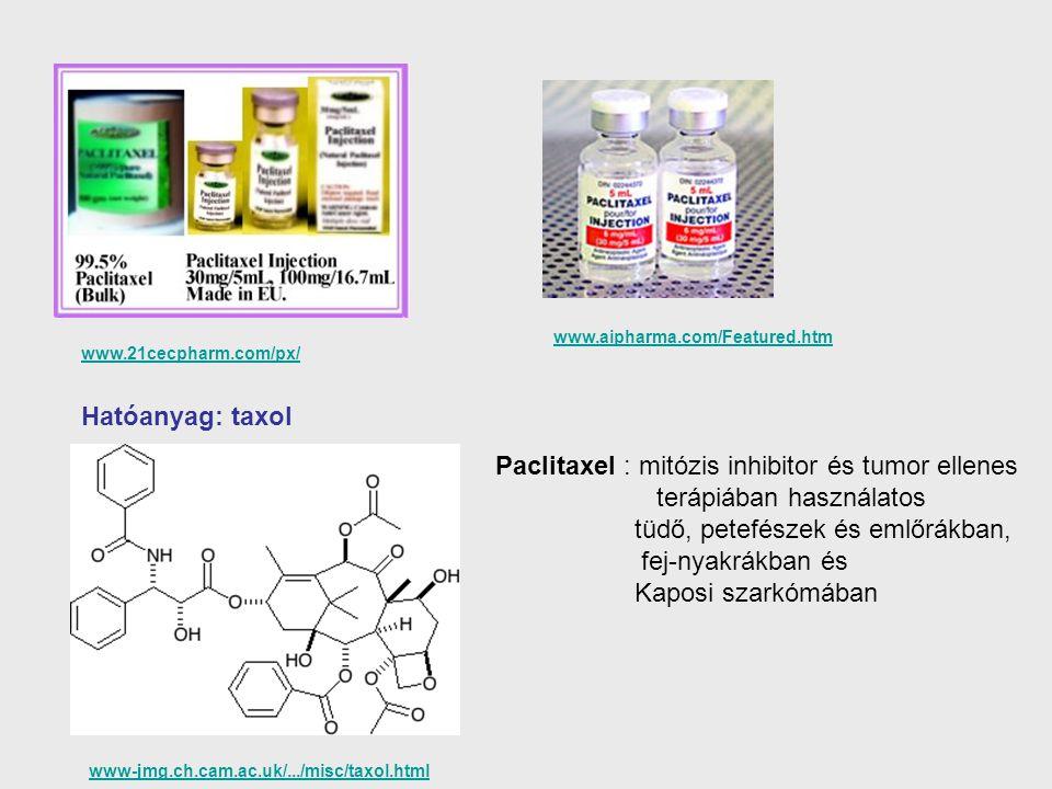 www-jmg.ch.cam.ac.uk/.../misc/taxol.html Paclitaxel : mitózis inhibitor és tumor ellenes terápiában használatos tüdő, petefészek és emlőrákban, fej-ny