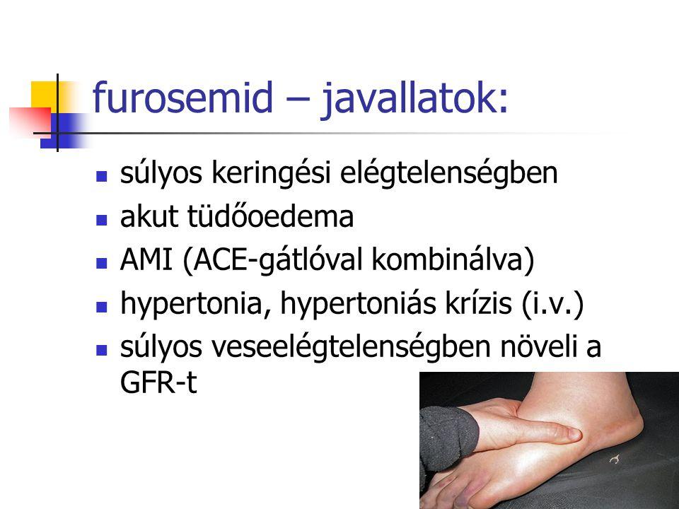 furosemid – javallatok: súlyos keringési elégtelenségben akut tüdőoedema AMI (ACE-gátlóval kombinálva) hypertonia, hypertoniás krízis (i.v.) súlyos ve