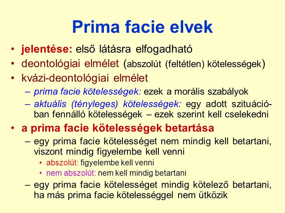 Prima facie elvek jelentése: első látásra elfogadható deontológiai elmélet ( abszolút (feltétlen) kötelességek ) kvázi-deontológiai elmélet –prima fac