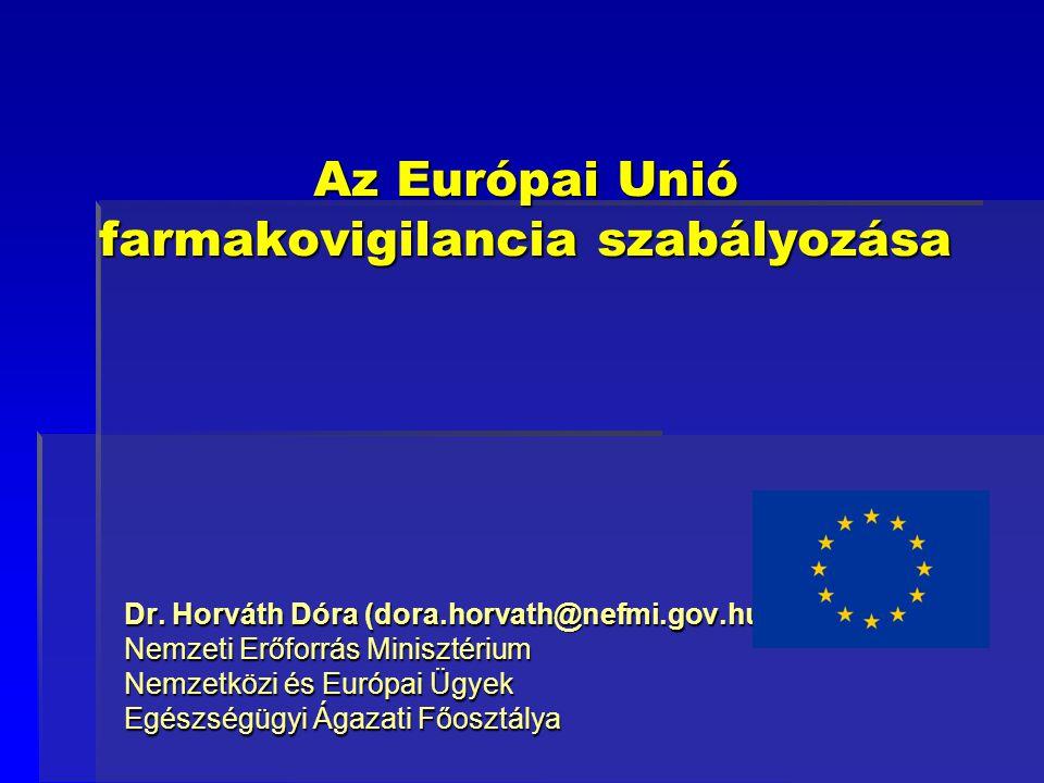 Az Európai Unió farmakovigilancia szabályozása Dr. Horváth Dóra (dora.horvath@nefmi.gov.hu) Nemzeti Erőforrás Minisztérium Nemzetközi és Európai Ügyek