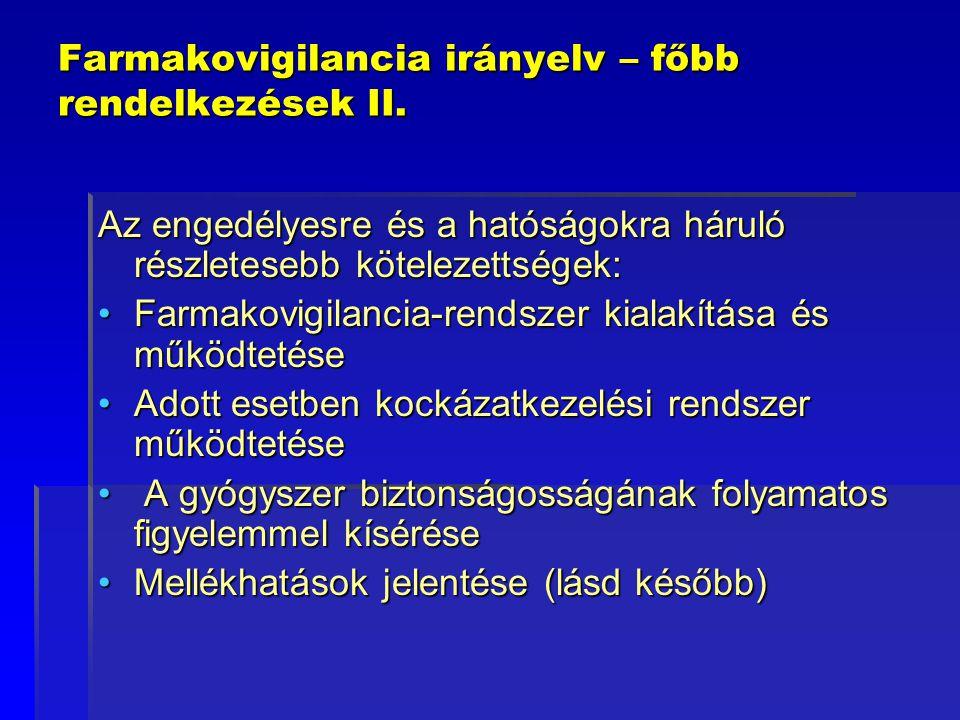Farmakovigilancia irányelv – főbb rendelkezések II. Az engedélyesre és a hatóságokra háruló részletesebb kötelezettségek: Farmakovigilancia-rendszer k