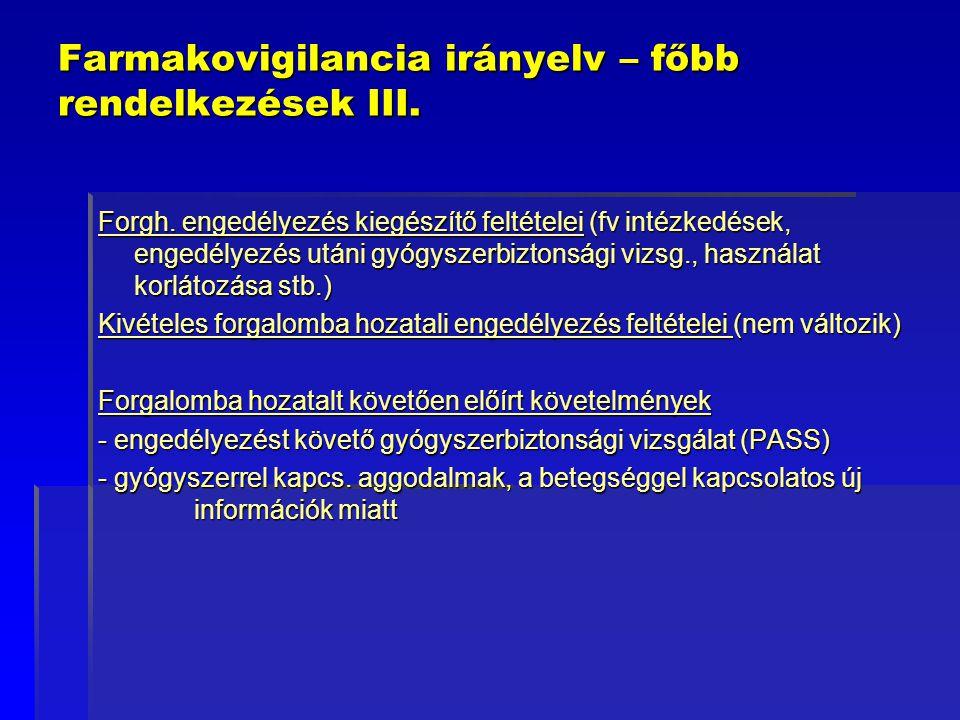 Farmakovigilancia irányelv – főbb rendelkezések III. Forgh. engedélyezés kiegészítő feltételei (fv intézkedések, engedélyezés utáni gyógyszerbiztonság