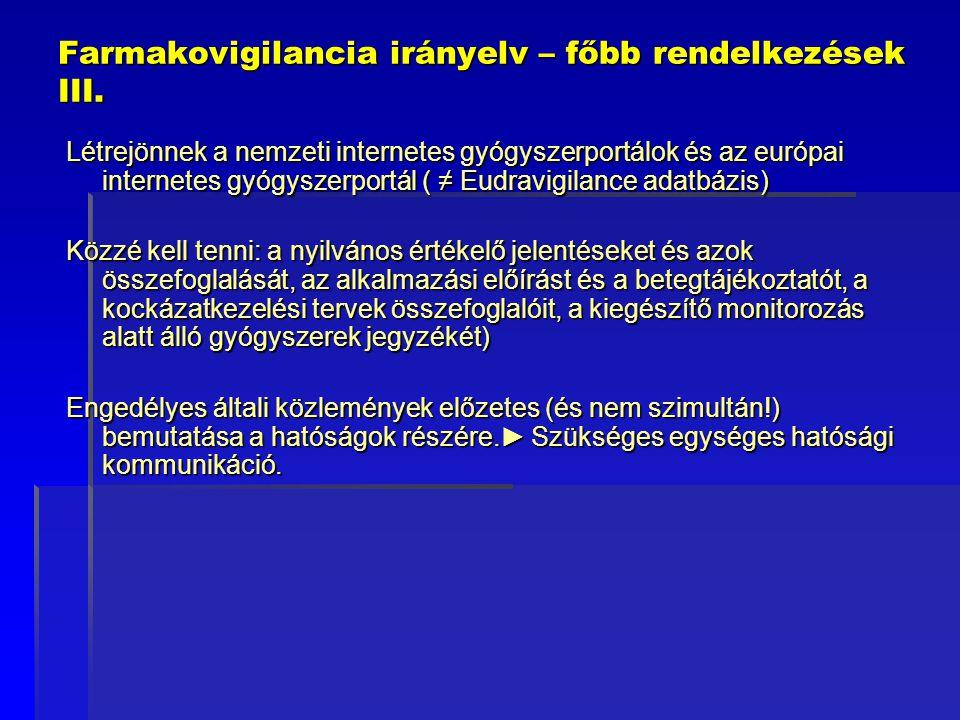 Farmakovigilancia irányelv – főbb rendelkezések III. Létrejönnek a nemzeti internetes gyógyszerportálok és az európai internetes gyógyszerportál ( ≠ E