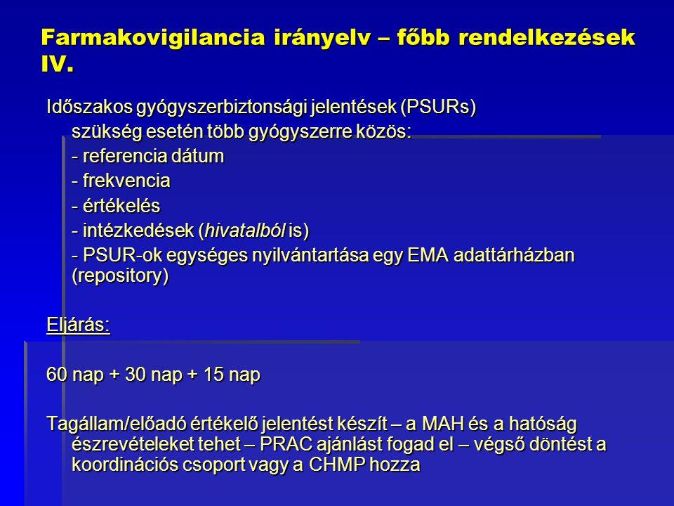 Farmakovigilancia irányelv – főbb rendelkezések IV. Időszakos gyógyszerbiztonsági jelentések (PSURs) szükség esetén több gyógyszerre közös: - referenc