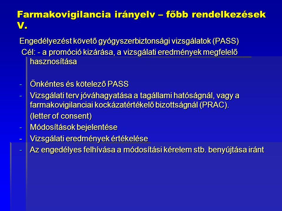 Farmakovigilancia irányelv – főbb rendelkezések V. Engedélyezést követő gyógyszerbiztonsági vizsgálatok (PASS) Cél: - a promóció kizárása, a vizsgálat