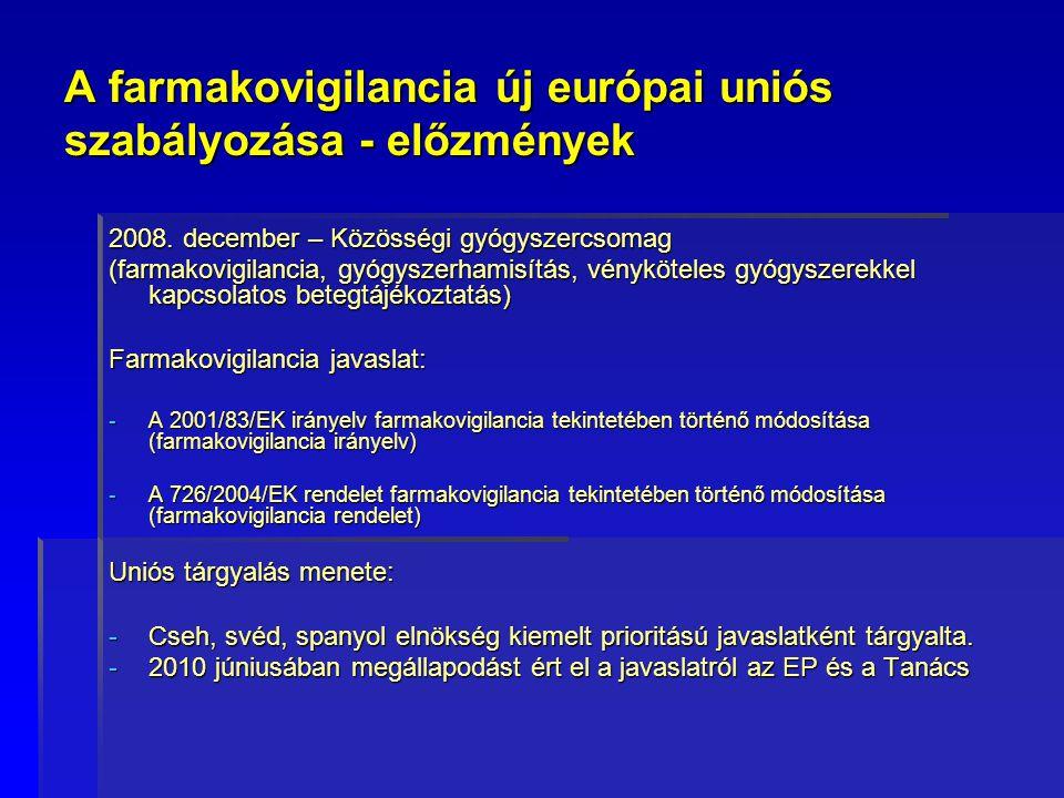 A farmakovigilancia új európai uniós szabályozása - előzmények 2008. december – Közösségi gyógyszercsomag (farmakovigilancia, gyógyszerhamisítás, vény