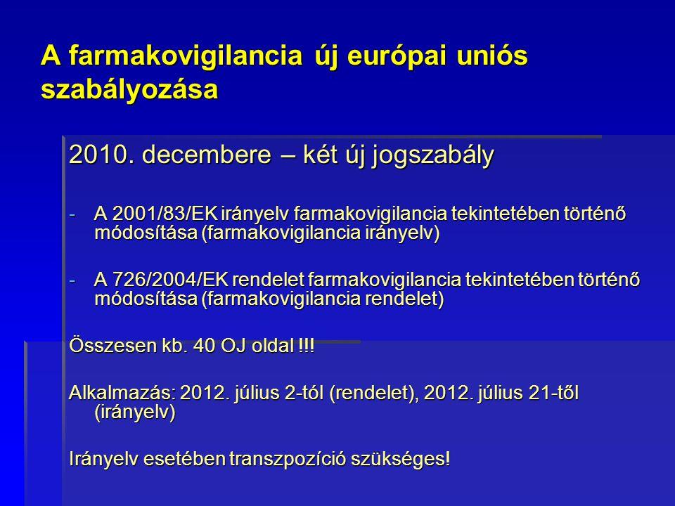 A farmakovigilancia új európai uniós szabályozása 2010. decembere – két új jogszabály -A 2001/83/EK irányelv farmakovigilancia tekintetében történő mó