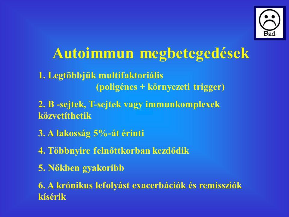 Autoimmun megbetegedések 1.Legtöbbjük multifaktoriális (poligénes + környezeti trigger) 2.