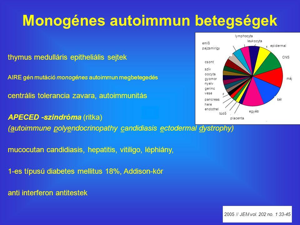 Monogénes autoimmun betegségek thymus medulláris epitheliális sejtek AIRE gén mutáció monogénes autoimmun megbetegedés centrális tolerancia zavara, autoimmunitás APECED -szindróma (ritka) (autoimmune polyendocrinopathy candidiasis ectodermal dystrophy) mucocutan candidiasis, hepatitis, vitiligo, léphiány, 1-es típusú diabetes mellitus 18%, Addison-kór anti interferon antitestek 2005 // JEM vol.