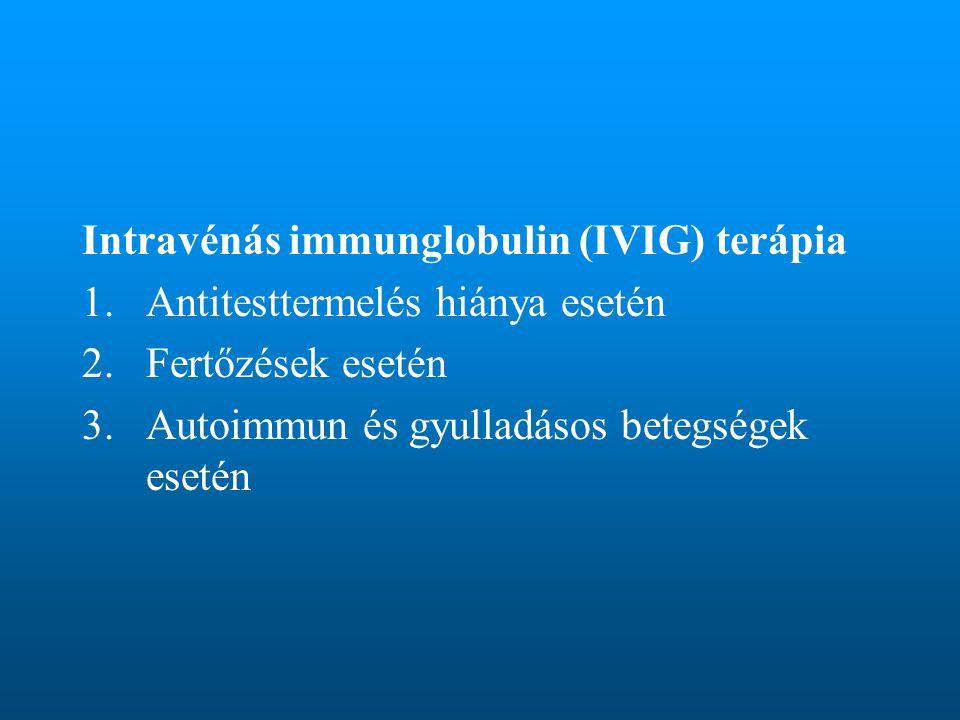 Intravénás immunglobulin (IVIG) terápia 1.Antitesttermelés hiánya esetén 2.Fertőzések esetén 3.Autoimmun és gyulladásos betegségek esetén