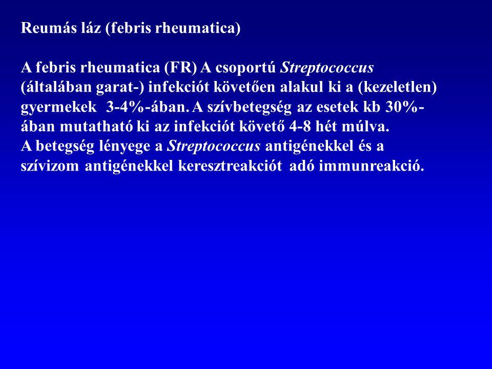 Reumás láz (febris rheumatica) A febris rheumatica (FR) A csoportú Streptococcus (általában garat-) infekciót követően alakul ki a (kezeletlen) gyerme