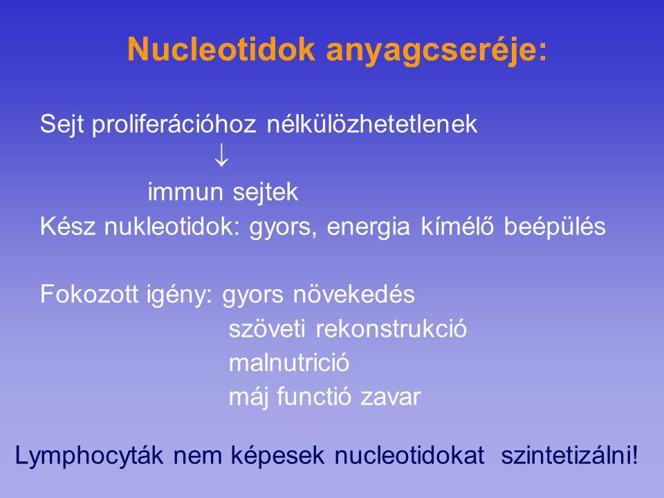 Nucleotidok anyagcseréje: Sejt proliferációhoz nélkülözhetetlenek  immun sejtek Kész nukleotidok: gyors, energia kímélő beépülés Fokozott igény: gyor